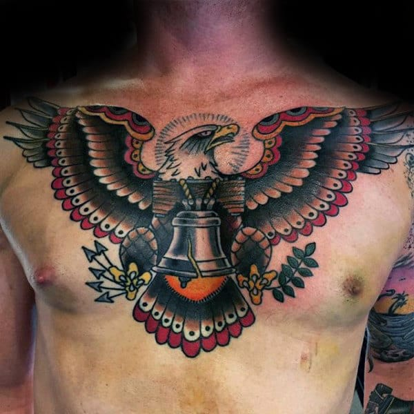 Bald Eagle Liberty Bell Chest Tatoos For Men