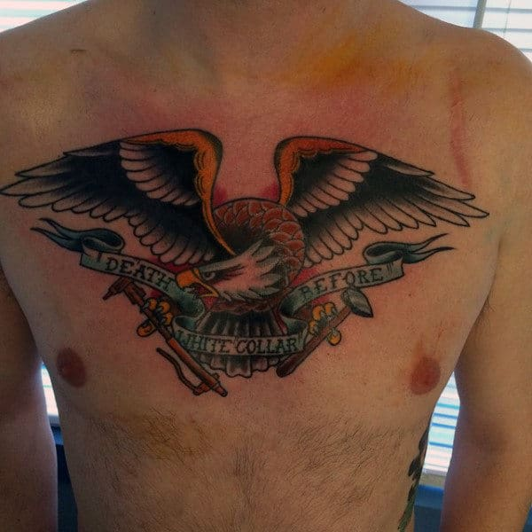 Bald Eagle Old School Death Before White Color Mens Welding Chest Tattoos