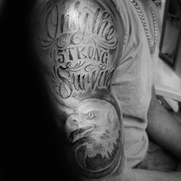 Bald Eagle Only The Strong Survive Mens Half Sleeve Tattoos