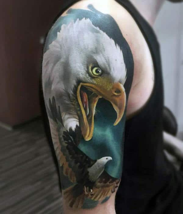 Bald Eagle Realistic Badass Half Sleeve Tattoos For Guys
