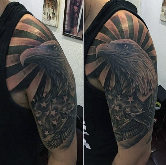 Bald Eagle Tattoo With Halo On Mens Arms