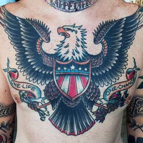 Bald Eagle Traditional Tattoo Designs For Gentlemen On Chest