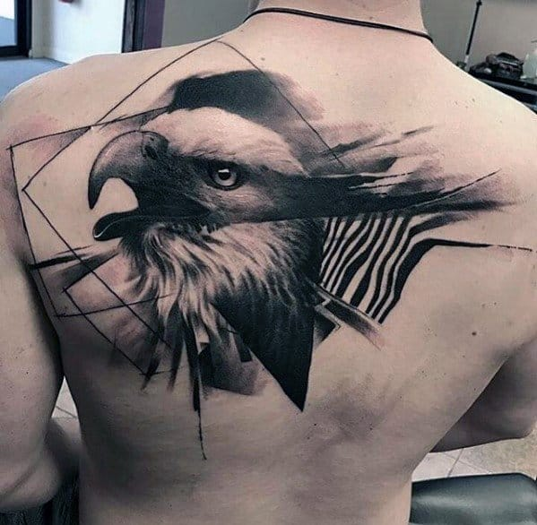 Bald Eagle Watercolor Awesome Back Male Tattoo Designs