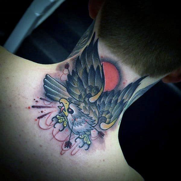 Bald Eagle With Arrows Awesome Mens Neck Tattoos