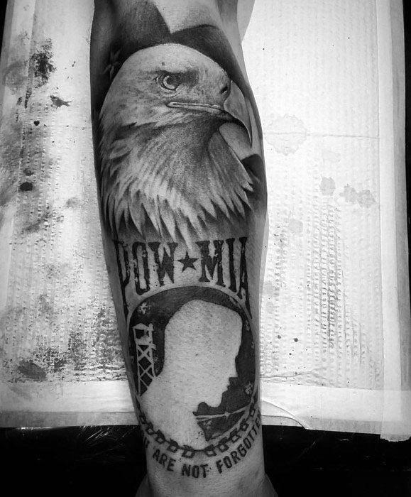 Bald Eagle With Pow Mia Tattoo Designs For Guys
