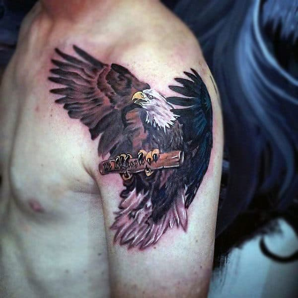 Bald Eagle With We The People Paper Scroll Mens Upper Arm Tattoo