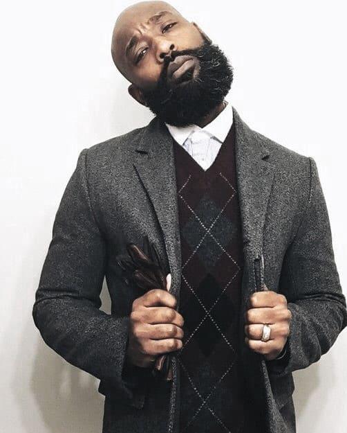Bald Haircut Full Beard Style For Black Men