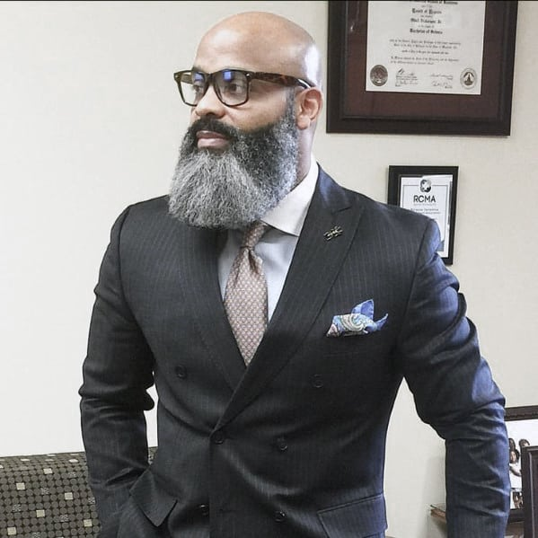 Bald Head With Full Grey Beard Styles For Black Men