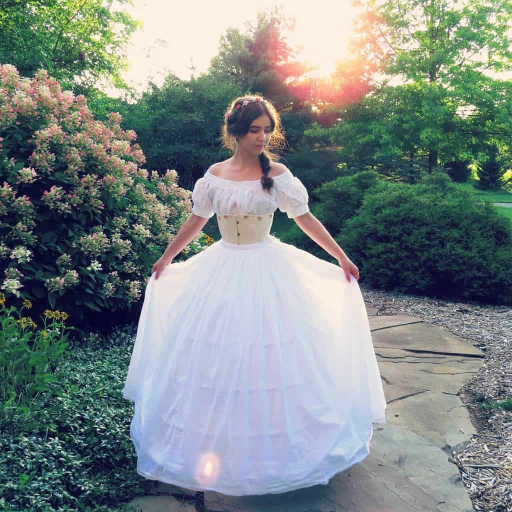 Ball Gown Skirt White Victorian Style