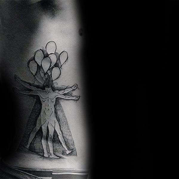 Ballons Vitruvian Man Mens Artistic Rib Cage Side Tattoo