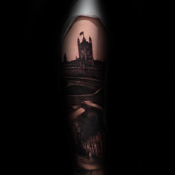 Ballpark Building Mens Sleeve Tattoo Design Ideas