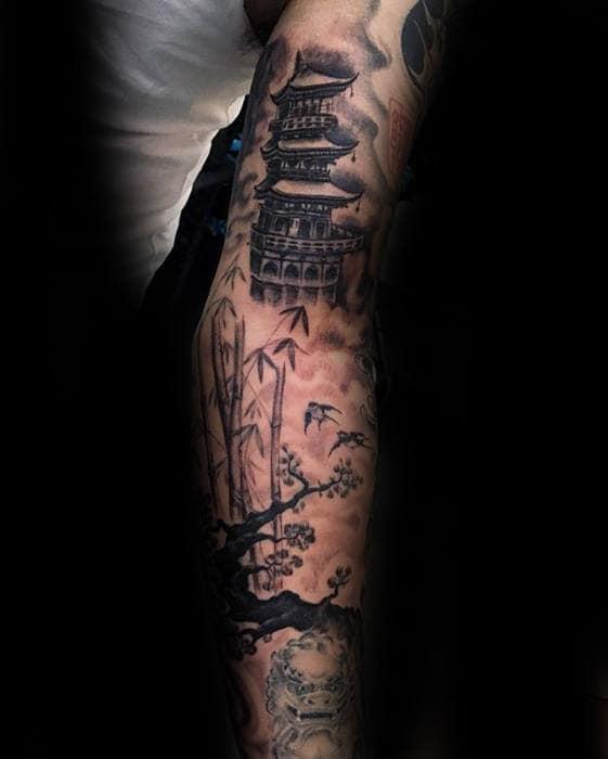 Super 50 Japanese Temple Tattoo Designs For Men - Buddhist Ink Ideas LZ-46