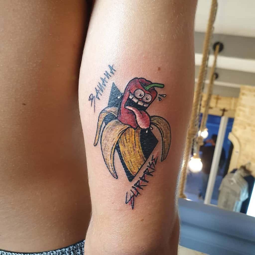 Banana Surprise Pimenta Funny Color Tattoo