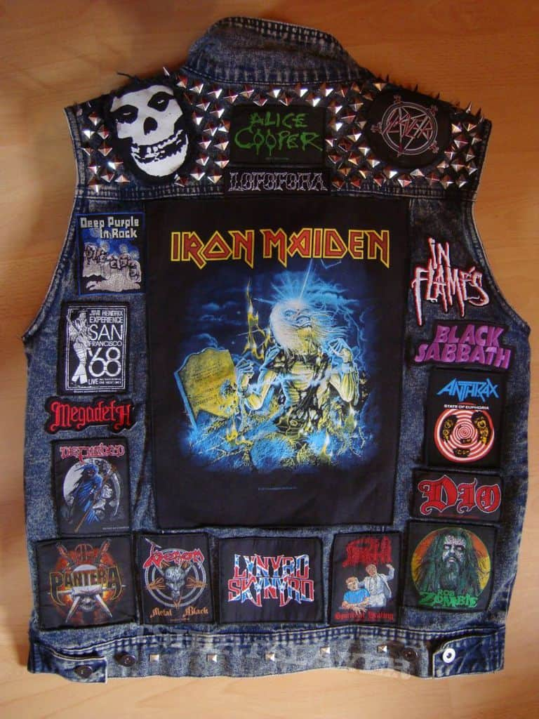 Cut-off denim jacket with patches