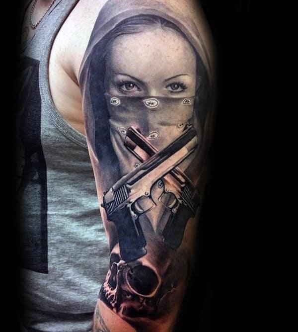 Bandana Gangster Mens Half Sleeve Tattoos