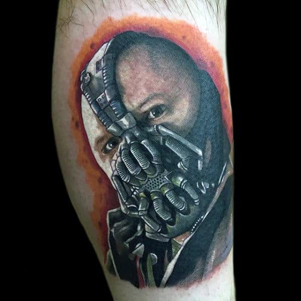 Bane Portrait With Orange Background Mens Leg Tattoos