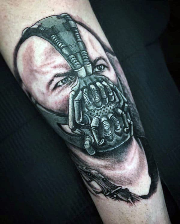 Bane Shaded Guys Forearm Tattoos