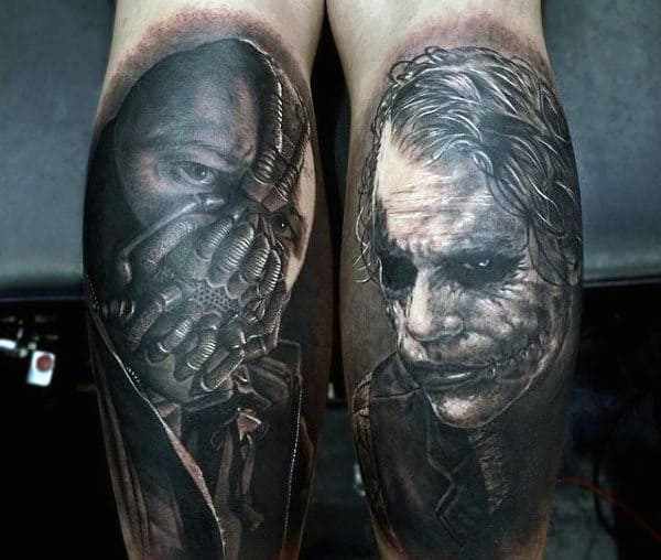 Bane With Joker Mens Back Of Leg Tattoos