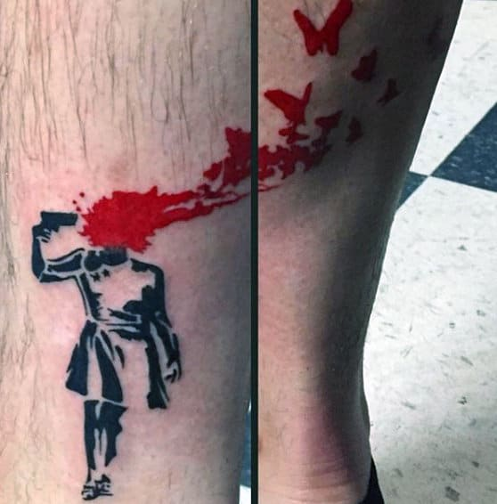 Banksy Brains And Birds Mens Lower Leg Tattoos