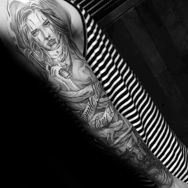 Banner Chicano Mens Full Sleeve Tattoos