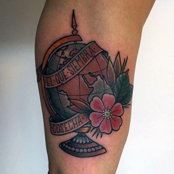 Banner Flower Globe Mens Arm Tattoos