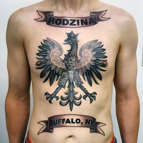 Banner Polish Eagle Male Chest Tattoos