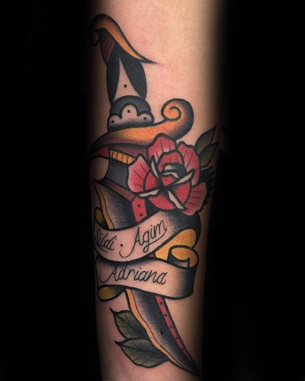 Banner Rose Traditional Dagger Male Forearm Tattoos
