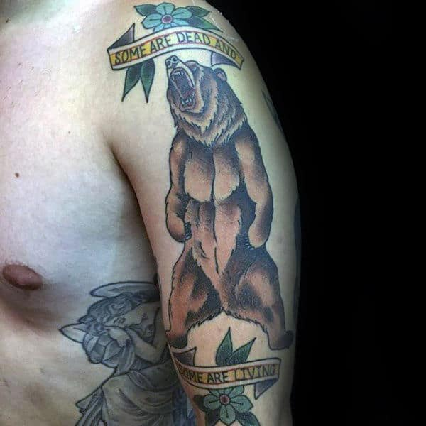 Banner Some Are Dead And Some Are Living Mens Brown Bear Traditional Arm Tattoos