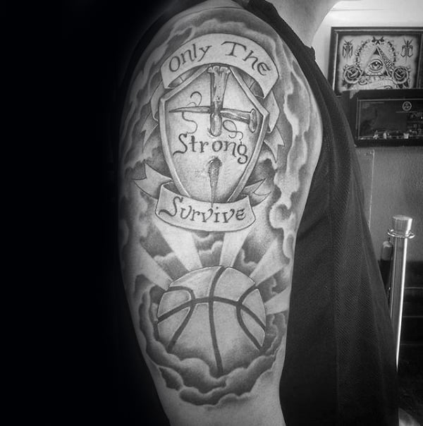 Banner With Cross And Basketball Mens Only The Strong Survive Arm Tattoo