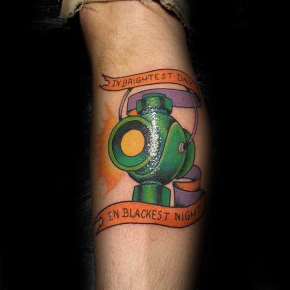 Banner With Green Lantern Guys Leg Calf Tattoo