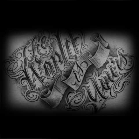Banner With Ornate The World Is Yours Quote Guys Back Tattoo