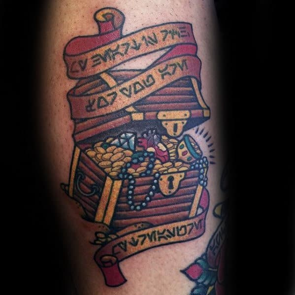 Banner With Treasure Chest Guys Arm Tattoo Designs
