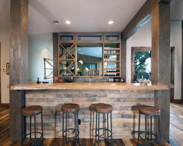 Bar Stools Wood Rustic Basement Design Ideas