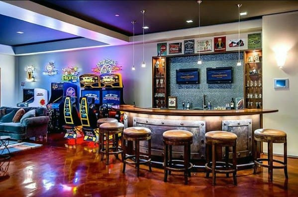 Bar With Arcade Gaming Man Cave