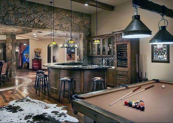 Bar With Pool Table Basement Cool Man Cave Ideas