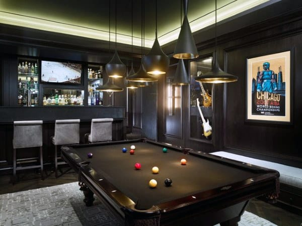 Bar With Pool Table Black Paint Game Room Ideas