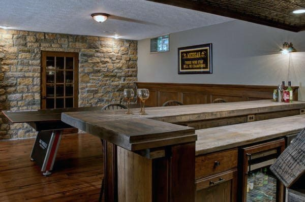 Bar With Pool Table Rustic Basement Ideas