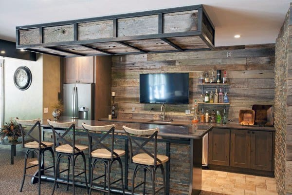 Bar With Rustic Design In Basement Of Home