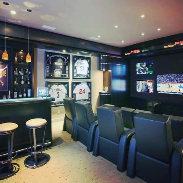 Bar With Tv Seating Guys Basement Man Caves