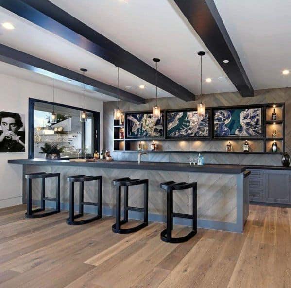 Bar Wood Backsplash Design Idea Inspiration