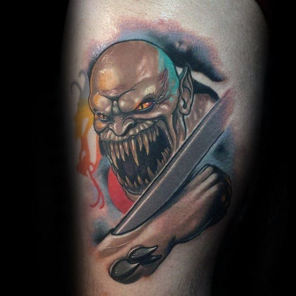 Baraka Mens Mortal Kombat Thigh Tattoo Design Ideas
