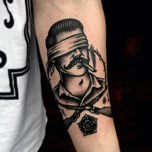 Barbed Wire Tattoo On Arm For Men Old School Traditional Style Ideas