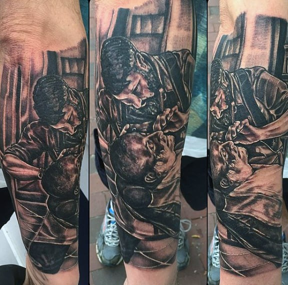 Barber Shaving Customer In Shop Tattoo For Men On Lower Arm