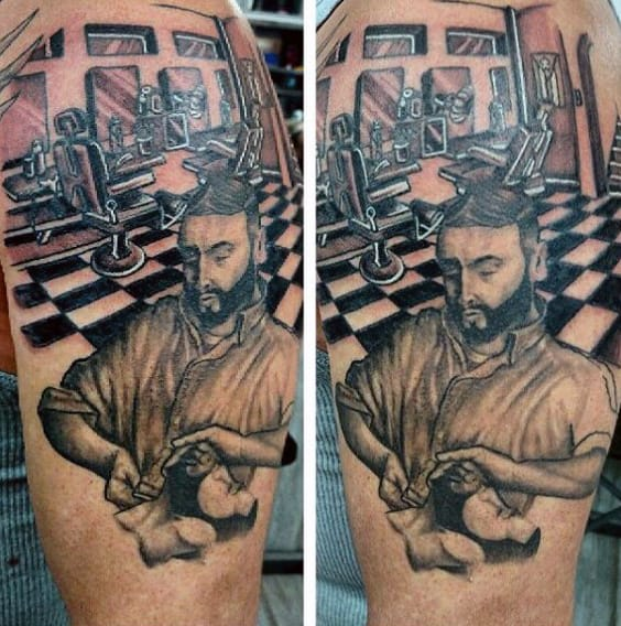 Barber Shop Scene Tattoo For Men On Upper Arm