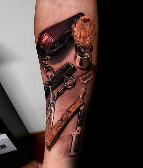 Barber Tools Guys 3d Inner Forearm Tattoo