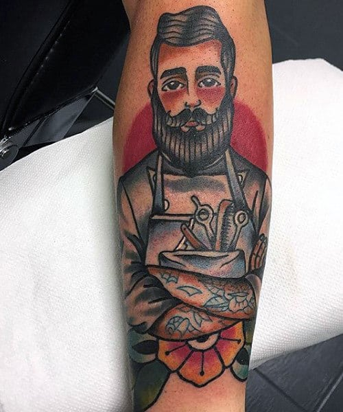Barber With Beard Mens Tattoos On Forearm