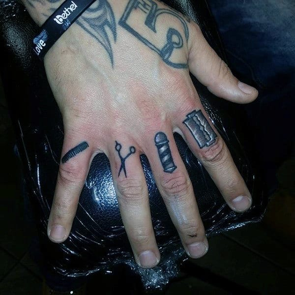 Barbershop Inspired Tattoo Knuckle For Males