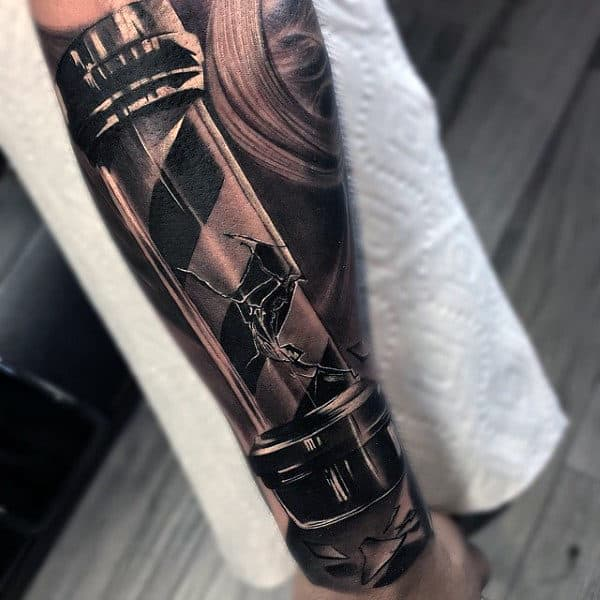 Barbershop Pole Half Sleeve Forearm Tattoo On Gentleman