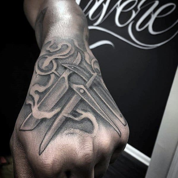 Barbershop Straight Razor Unique Hand Mens 3d Tattoo