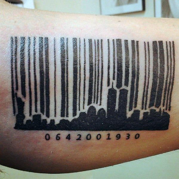 Barcode City Skyline Mens Tattoo On Arm